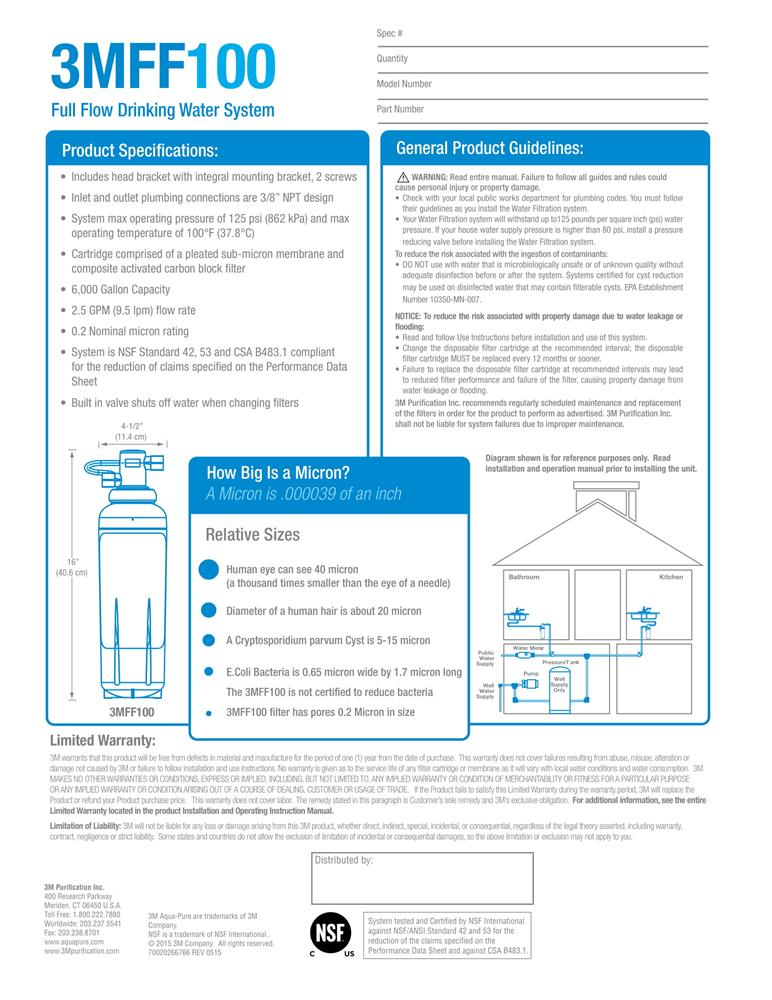 3M Aqua-Pure 3MFF100 Full Flow Drinking Water System Data Sheet
